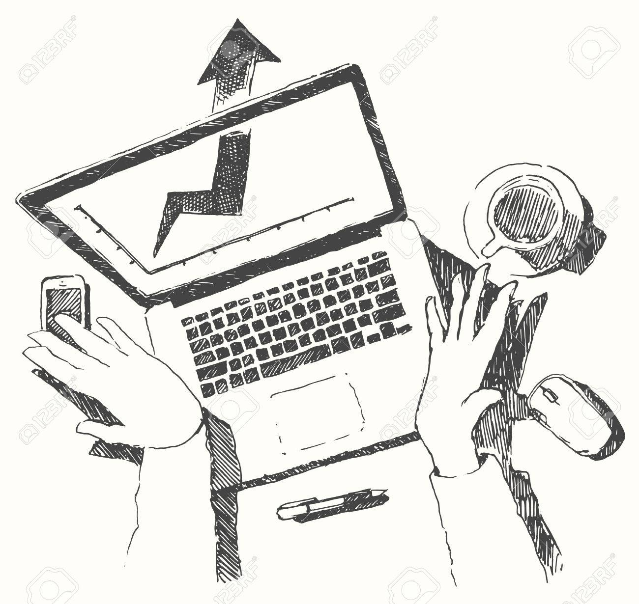 1300x1230 Sketch Of Hands With Computer Man Doing Office Work Top View