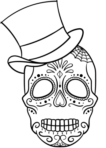 346x480 Sugar Skull With Top Hat Coloring Page Free Printable Coloring Pages