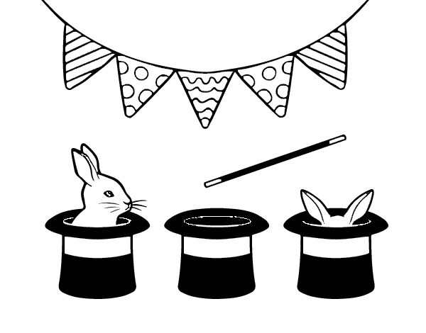 600x470 Rabbit And Top Hat Coloring Page
