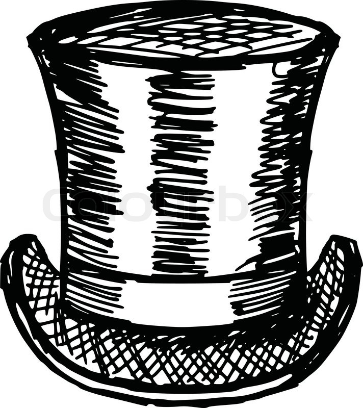 712x800 Sketch, Doodle, Hand Drawn Illustration Of Top Hat Stock Vector