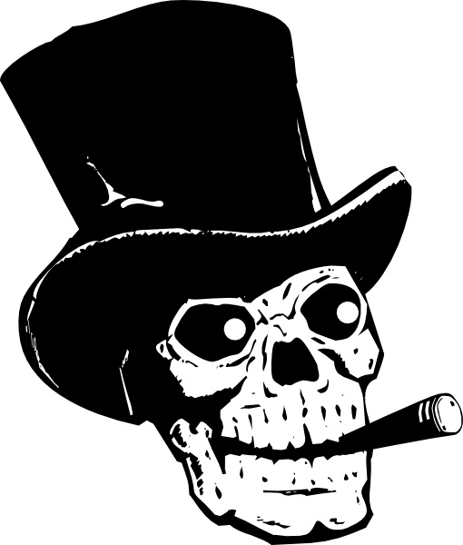 510x600 Skull With Top Hat And Ccigar Clip Art Free Vector In Open Office