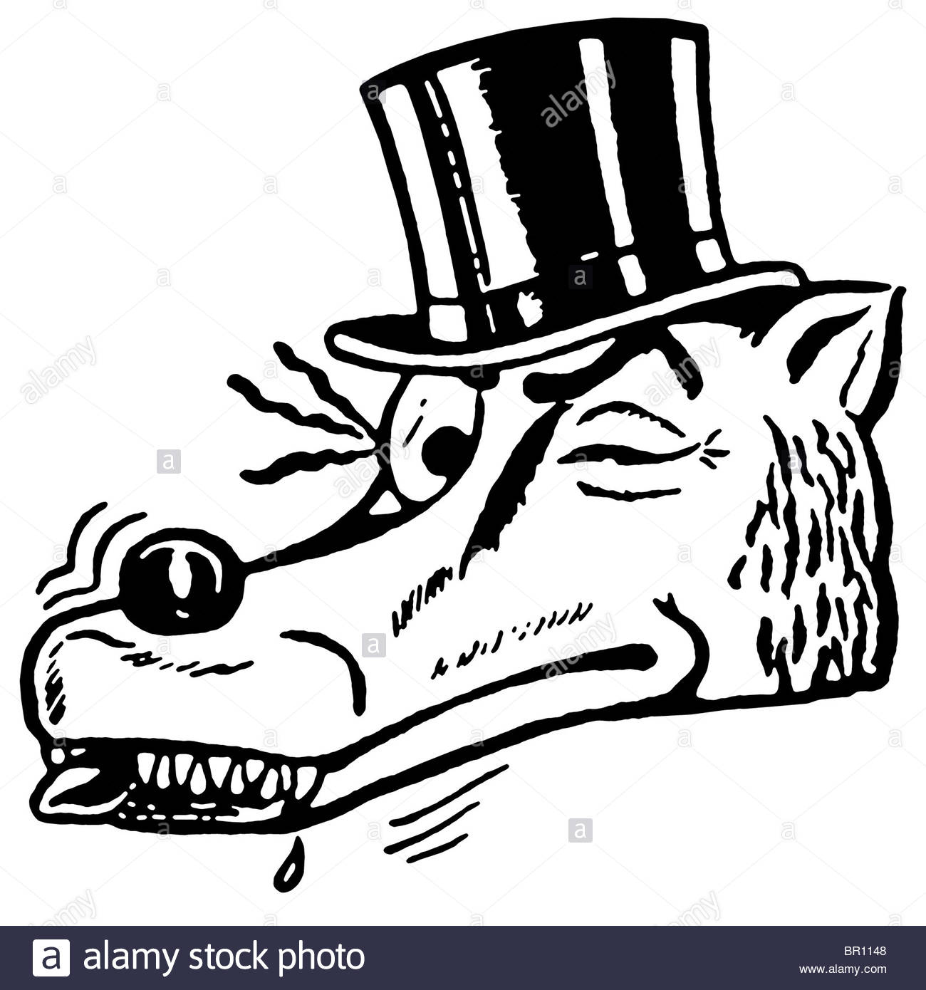 1300x1390 A Black And White Version Of A Winking Wolf Wearing A Top Hat