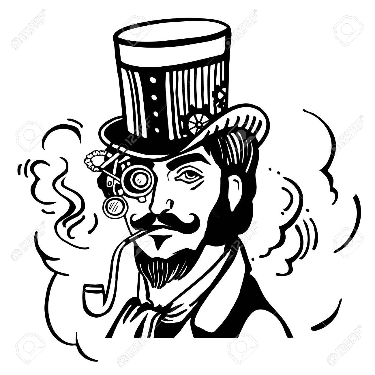 1300x1300 Steampunk Man In Top Hat And Glasses With The Beard And Moustache