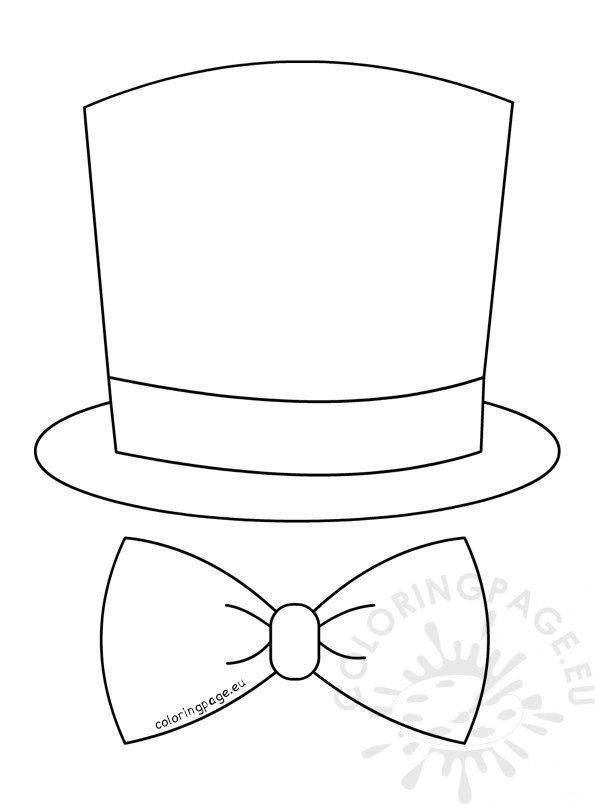 595x804 Top Hat Bow Tie Vector Illustration Coloring Page