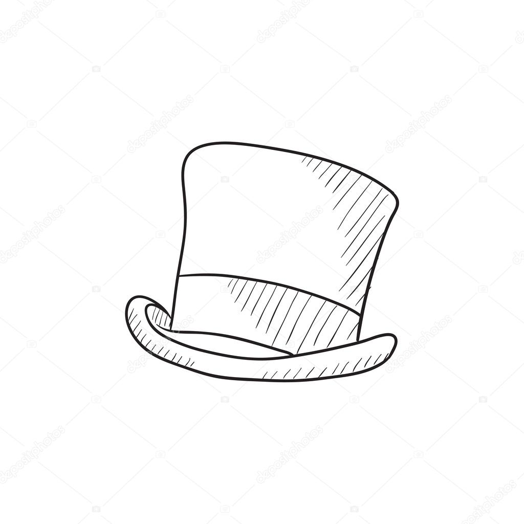 1024x1024 Top Hat Sketch Icon. Stock Vector Rastudio