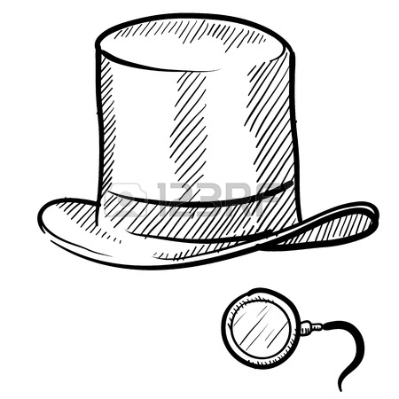 450x450 Doodle Style Rich Man's Top Hat And Monocle In Vector Format Stock