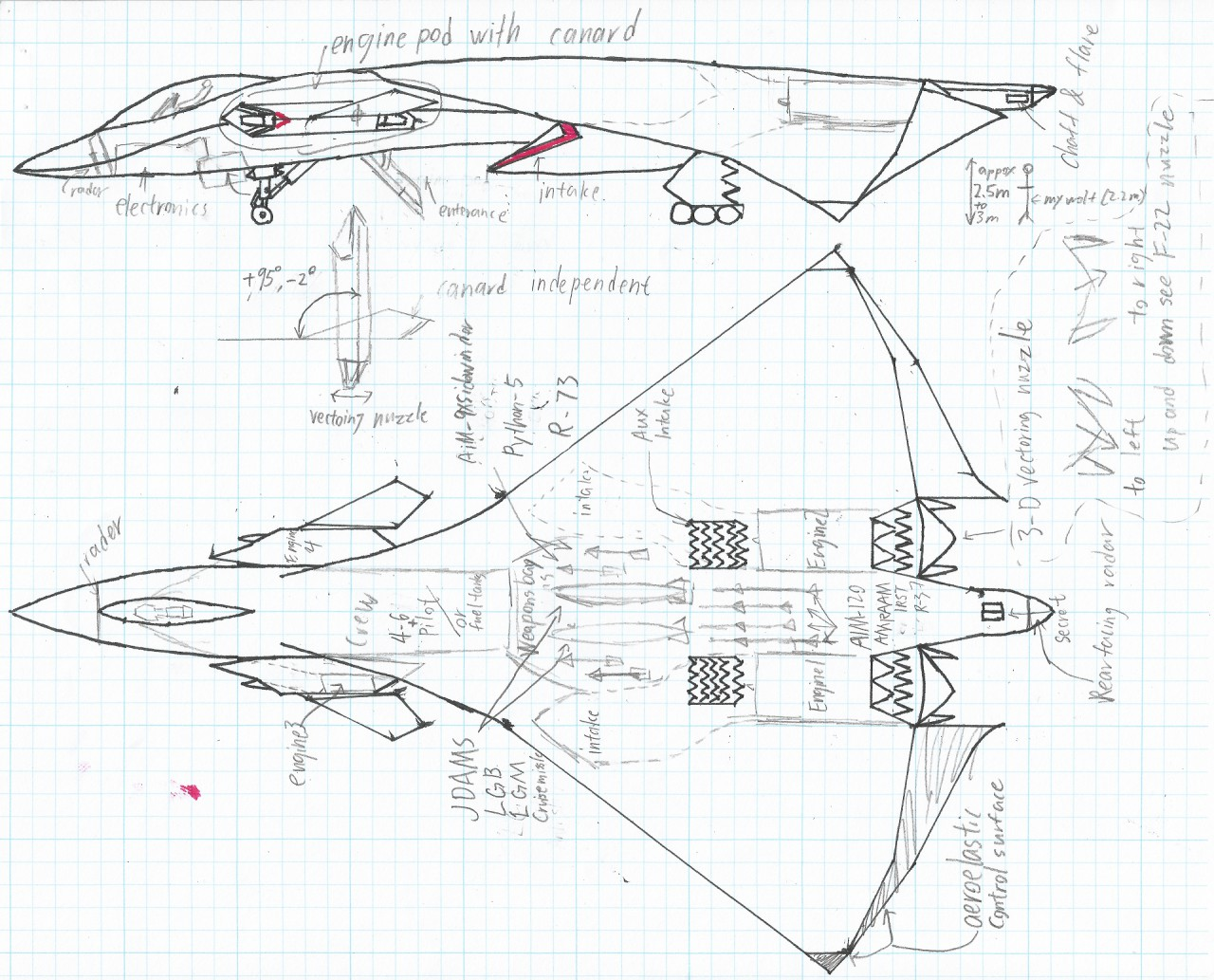 1280x1033 3 View Drawings Of Assault Gryphon Vtol Stealth Top Side By