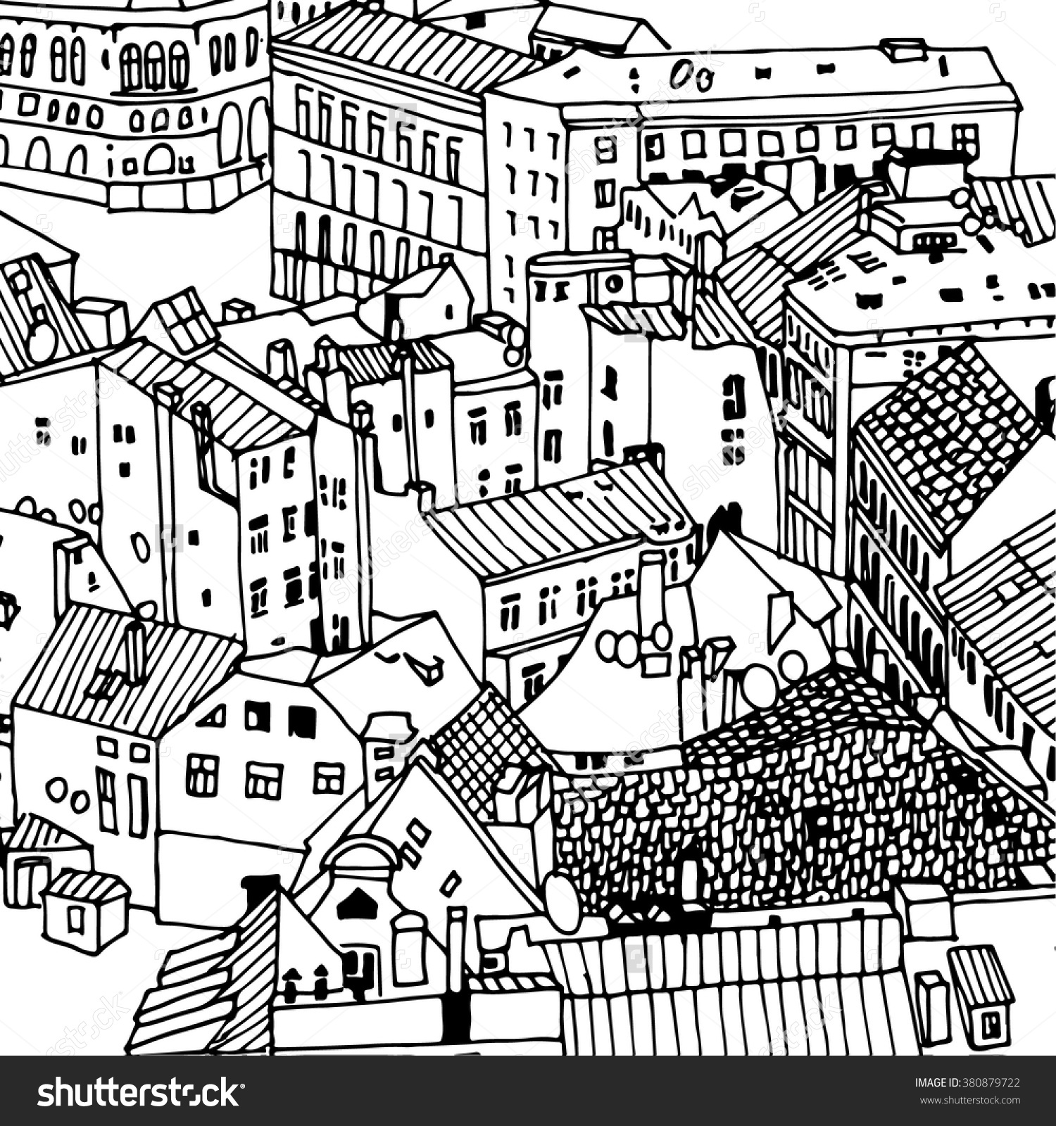 1500x1600 Sketch Drawing Urban Landscape Cityscape Rooftops And The Save