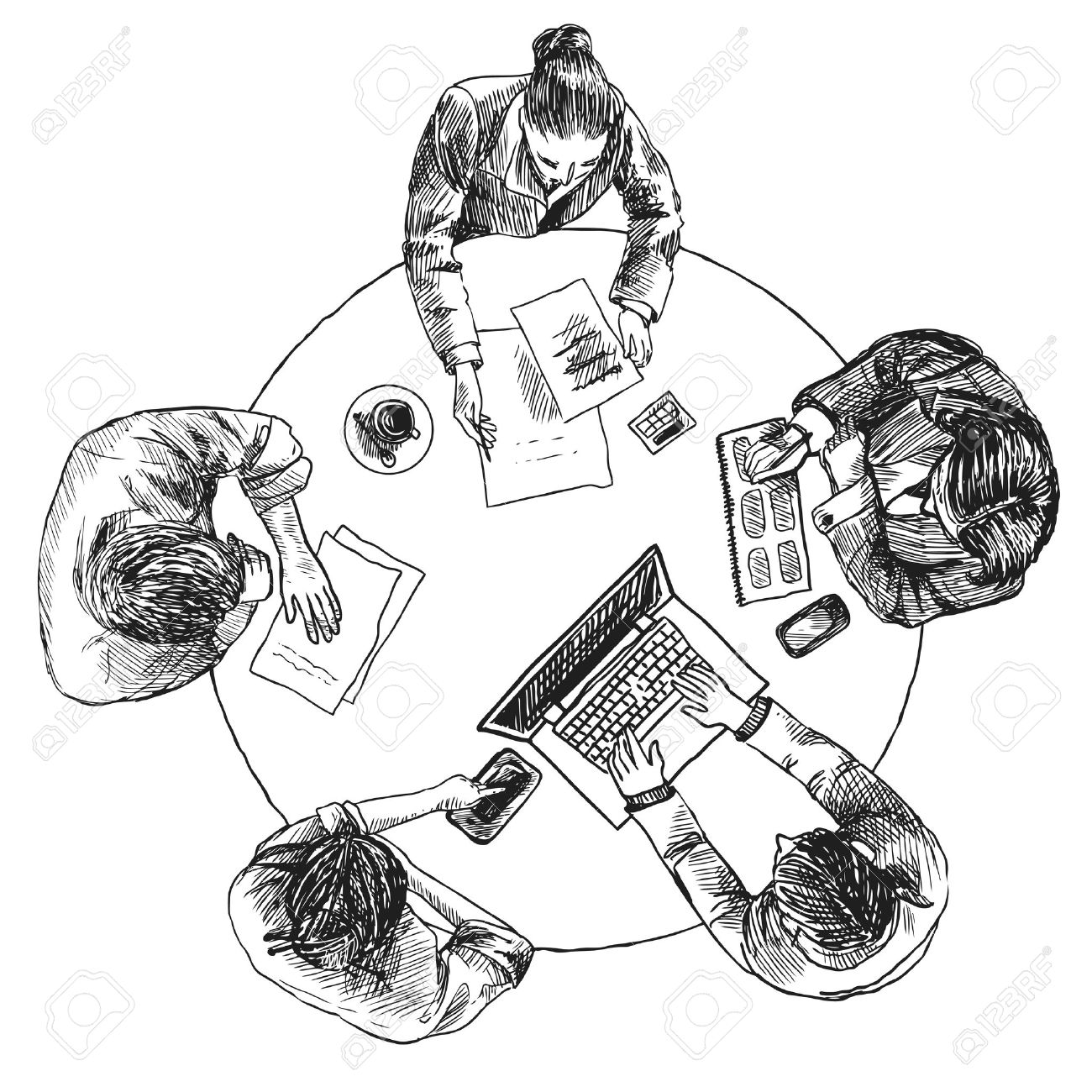 1300x1300 Business Team Meeting Concept Top View People On Table Sketch