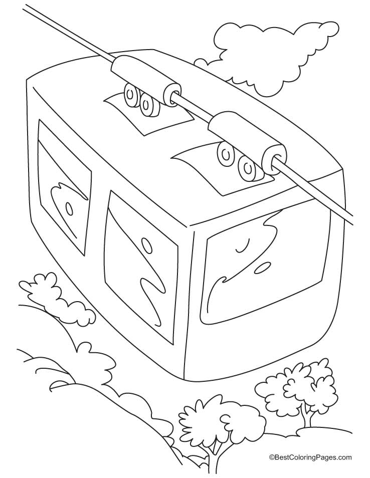 738x954 A Top View Of Cable Car Coloring Pages Download Free A Top View