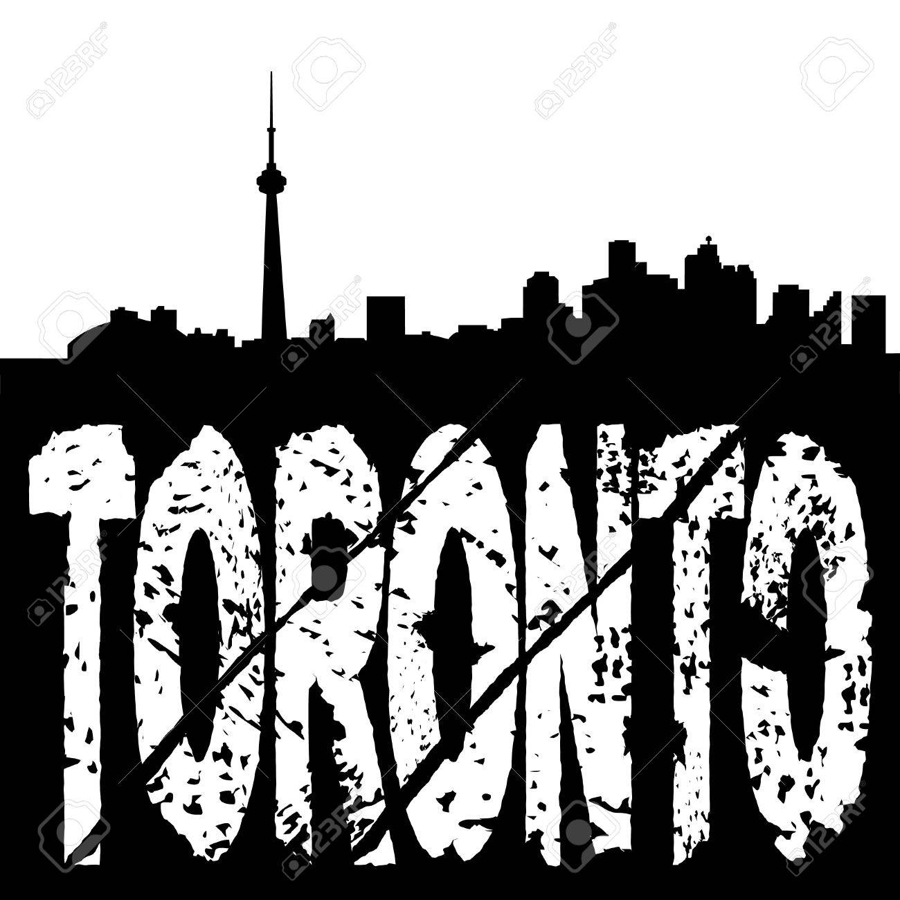 1300x1300 Toronto Skyline With Grunge Text Illustration Stock Photo, Picture