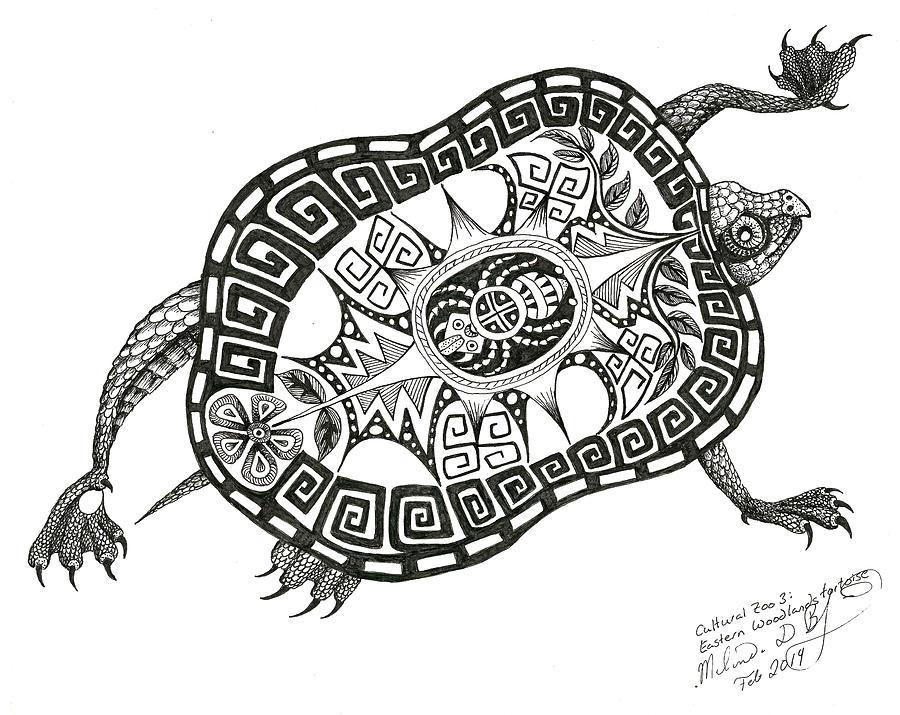 900x715 Cutural Zoo 3 Eastern Woodlands Tortoise Drawing By Melinda Dare