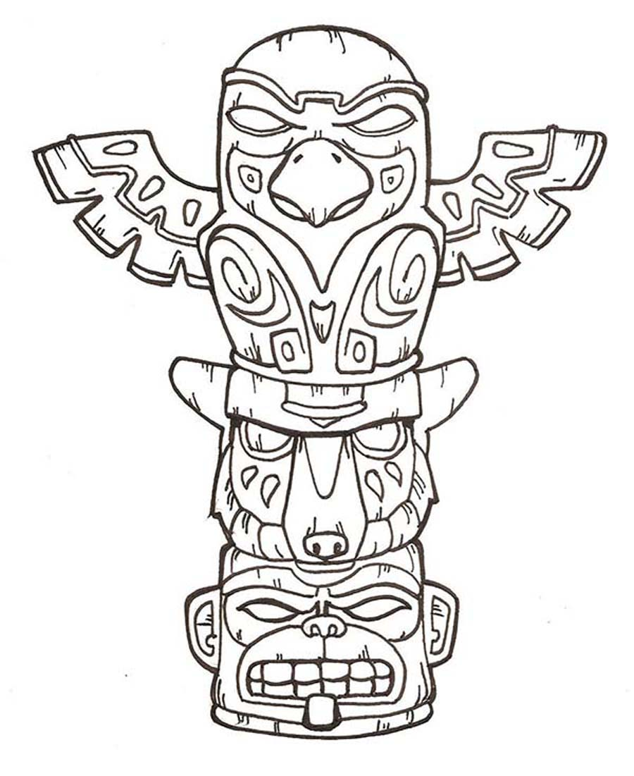 900x1101 Printable Totem Pole Coloring Pages Coloring Me Scrapbook