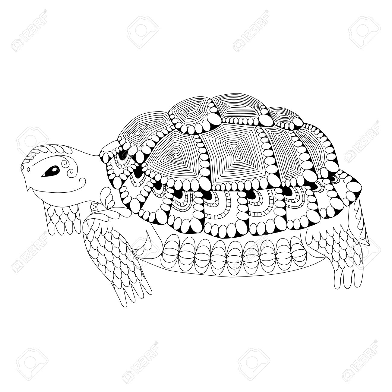 1300x1300 Totem Animal. Drawing Turtle For Coloring Page, Shirt Design