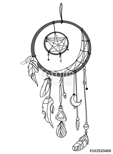 368x500 Vector Illustration Of A Dream Catcher With Feathers. Indian Totem