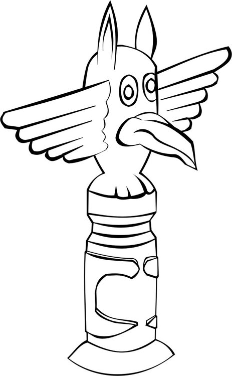 463x750 Coloring Page Totem Pole