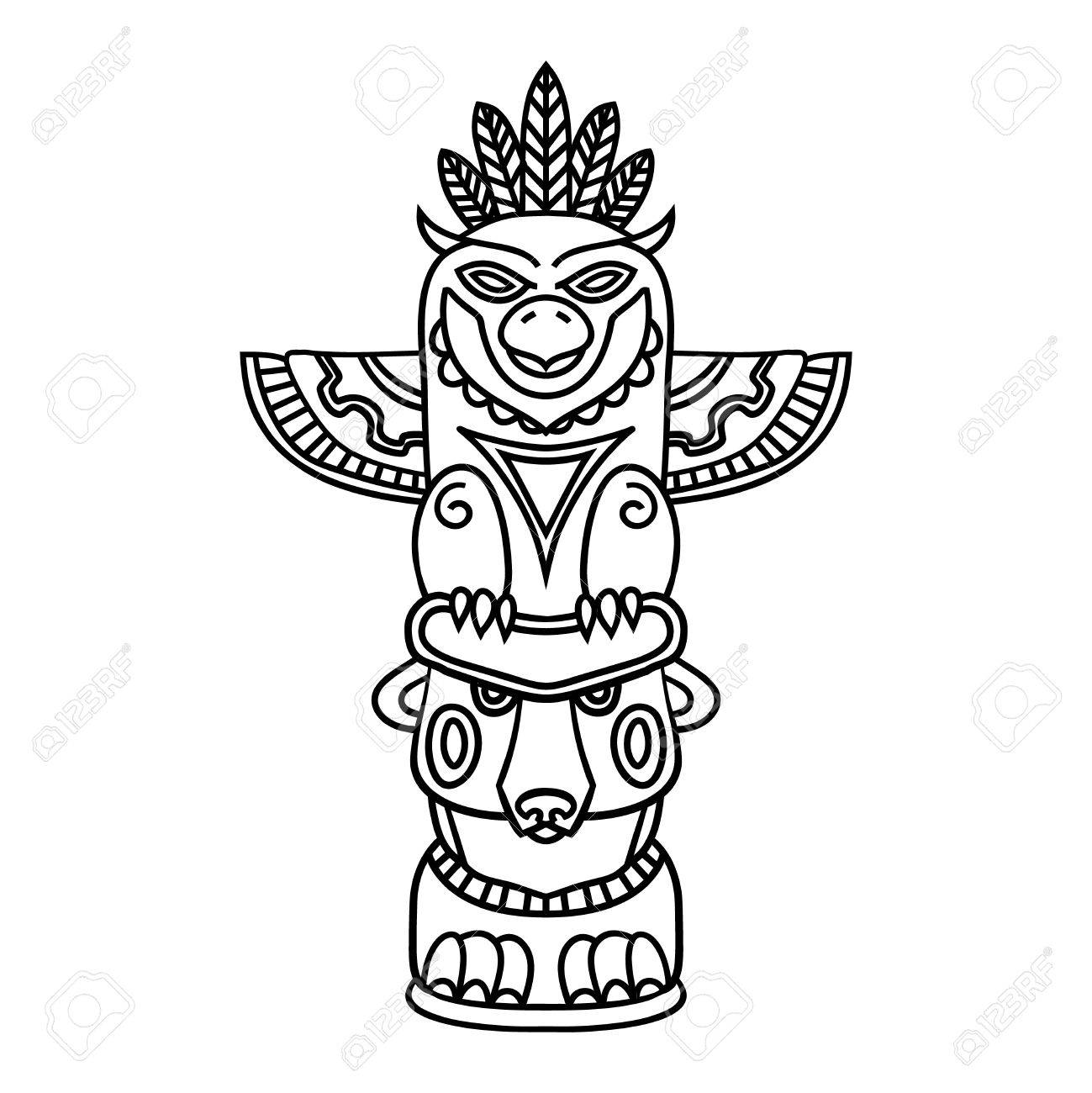 1299x1300 Doodle Traditional Tribal Totem Pole Isolated On White Background