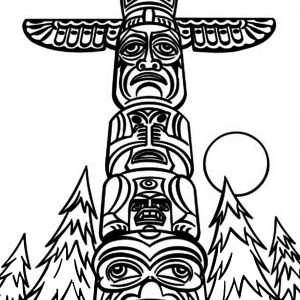 300x300 Fearsome Native American Totem On Native American Day Coloring