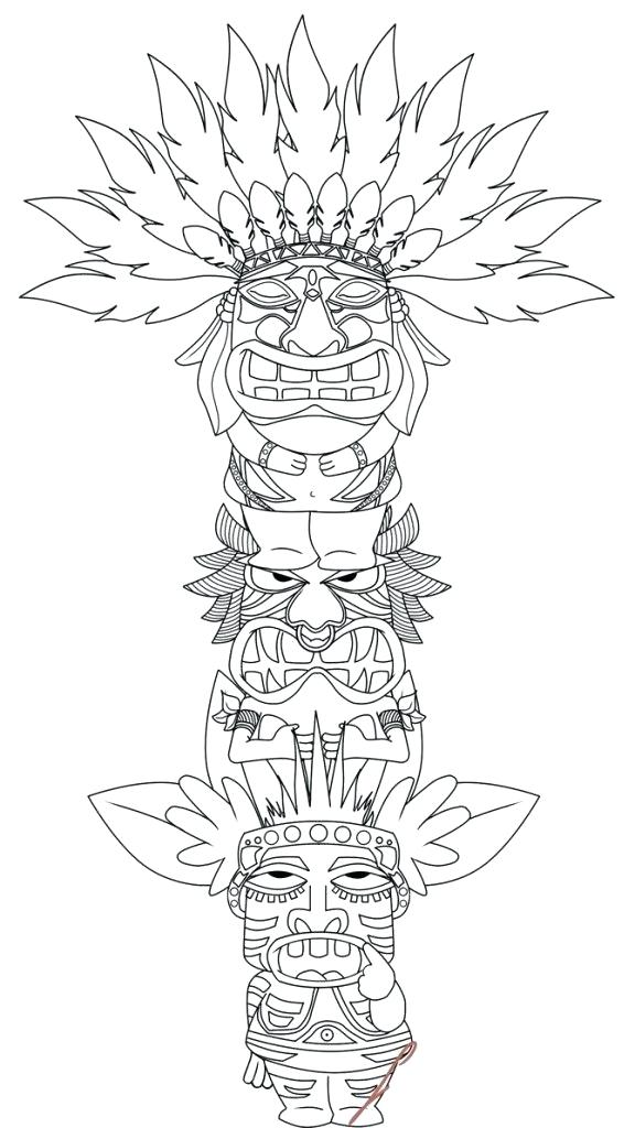 576x1024 Et Coloring Pages Totem Pole Halloween Ghost