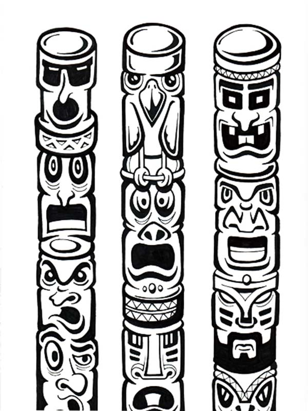 Tiki Mask and Totem Pole Coloring Pages - Get Coloring Pages | 801x600