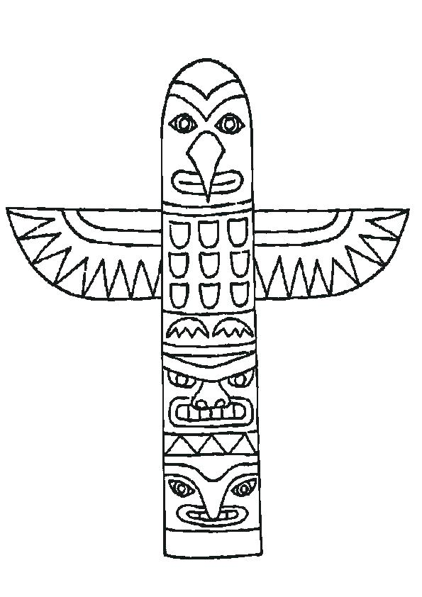 595x842 Totem Pole Coloring Page Printable Faces Pages