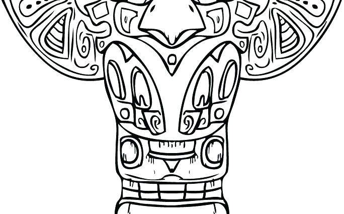 684x425 Totem Pole Coloring Pages Various Tribe Totem Poles Coloring Page