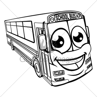 325x325 Coach Bus Cartoon Character Mascot Scene Gl Stock Images