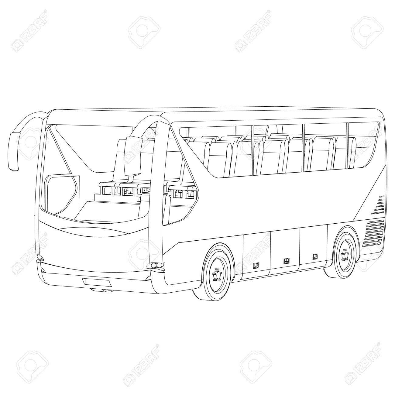 1300x1300 Big Bus Contour On A White Background Royalty Free Cliparts