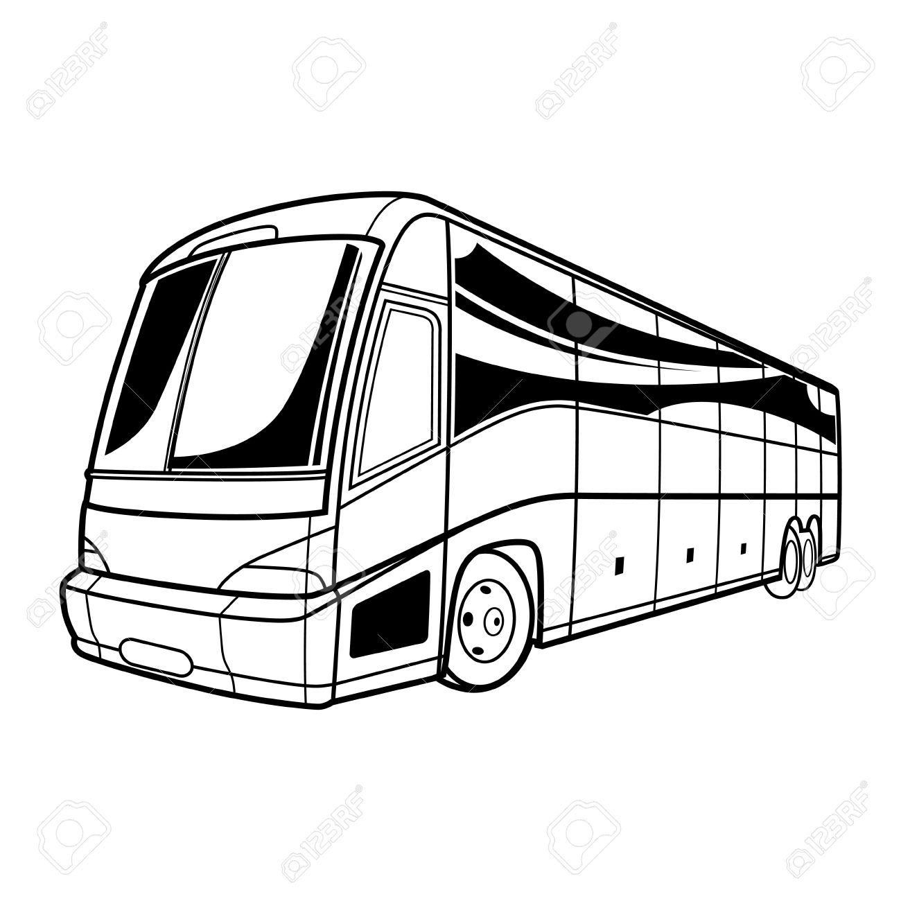 1300x1300 Big Vector Black And White Transport Tourist Bus Car Travel