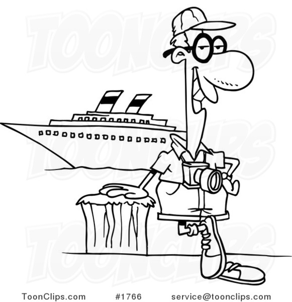 581x600 Cartoon Black And White Line Drawing Of A Cruise Tourist Posing By
