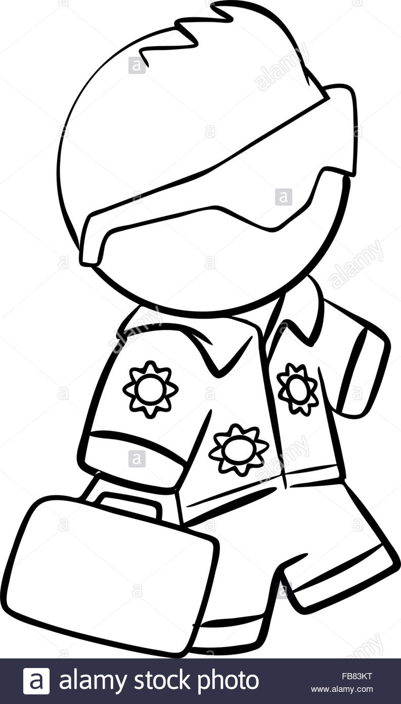 793x1390 Line Drawing Of A Tourist Going On Vacation Stock Vector Art