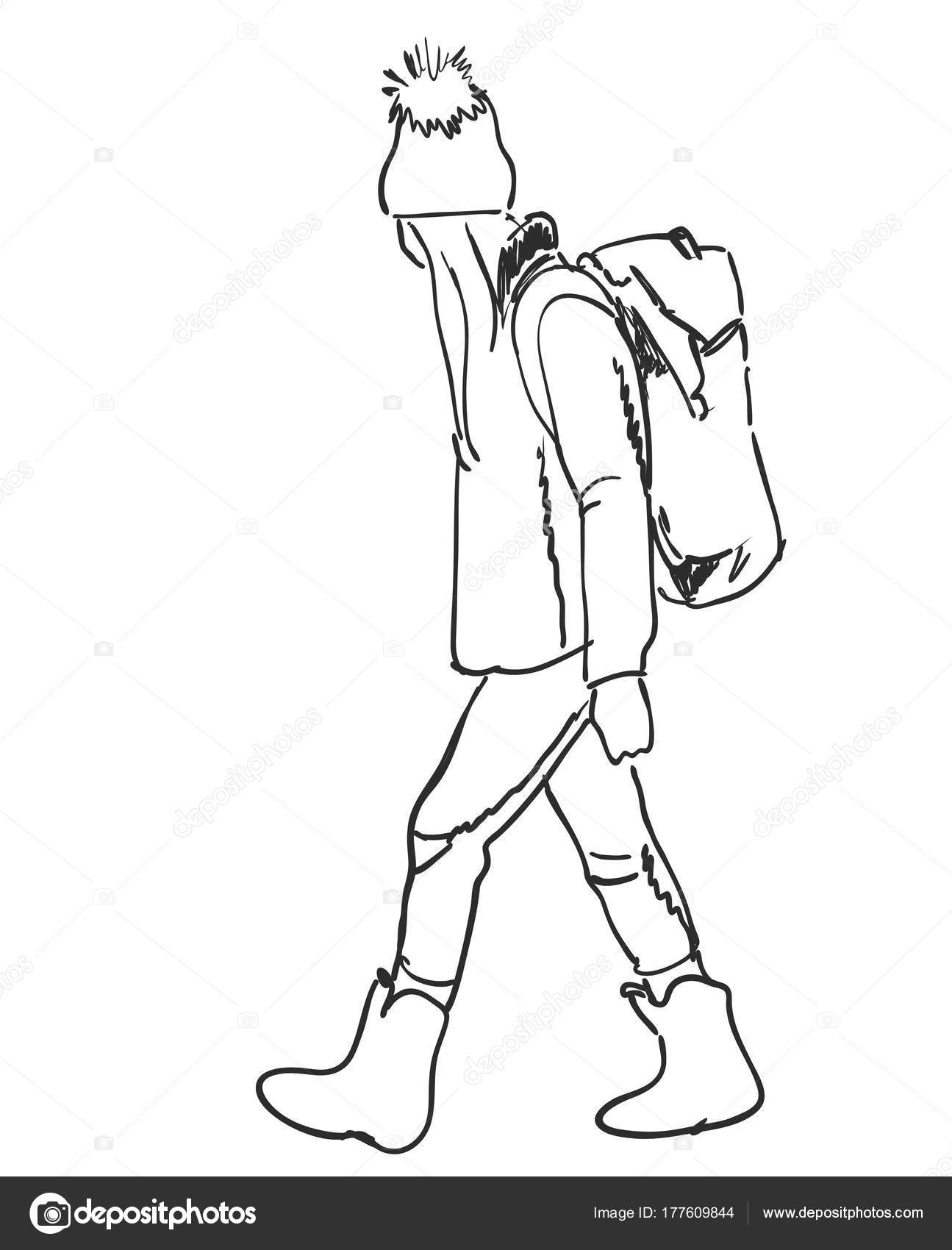 1295x1700 Traveler And Backpacker. Hand Drawn Vector Illustration. Tourist