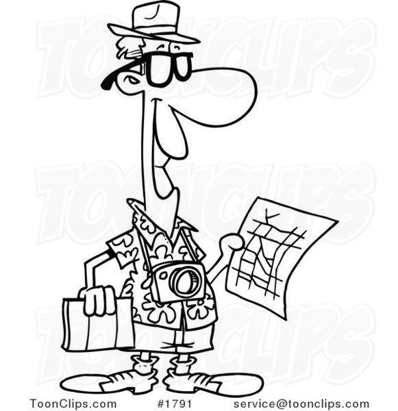 581x600 Cartoon Black And White Line Drawing Of A Tourist Holding A Map