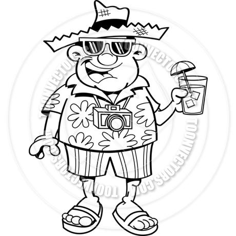 460x460 Cartoon Tourist (Black Amp White Line Art) By Kenbenner Toon