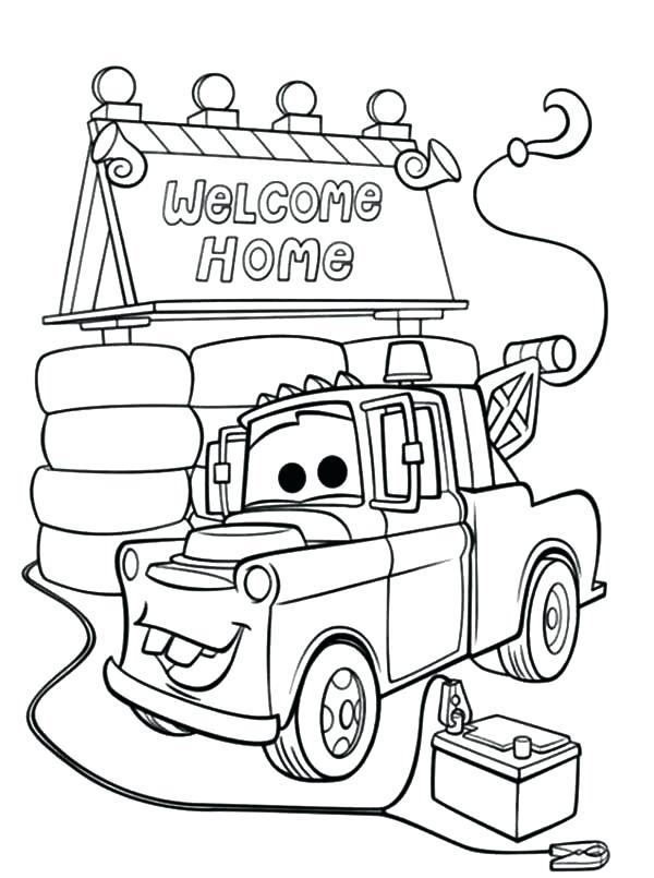 600x805 Tow Mater Coloring Pages Tow Mater House Coloring Pages Lightning