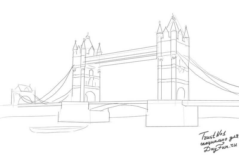 800x524 How To Draw Tower Bridge Step By Step