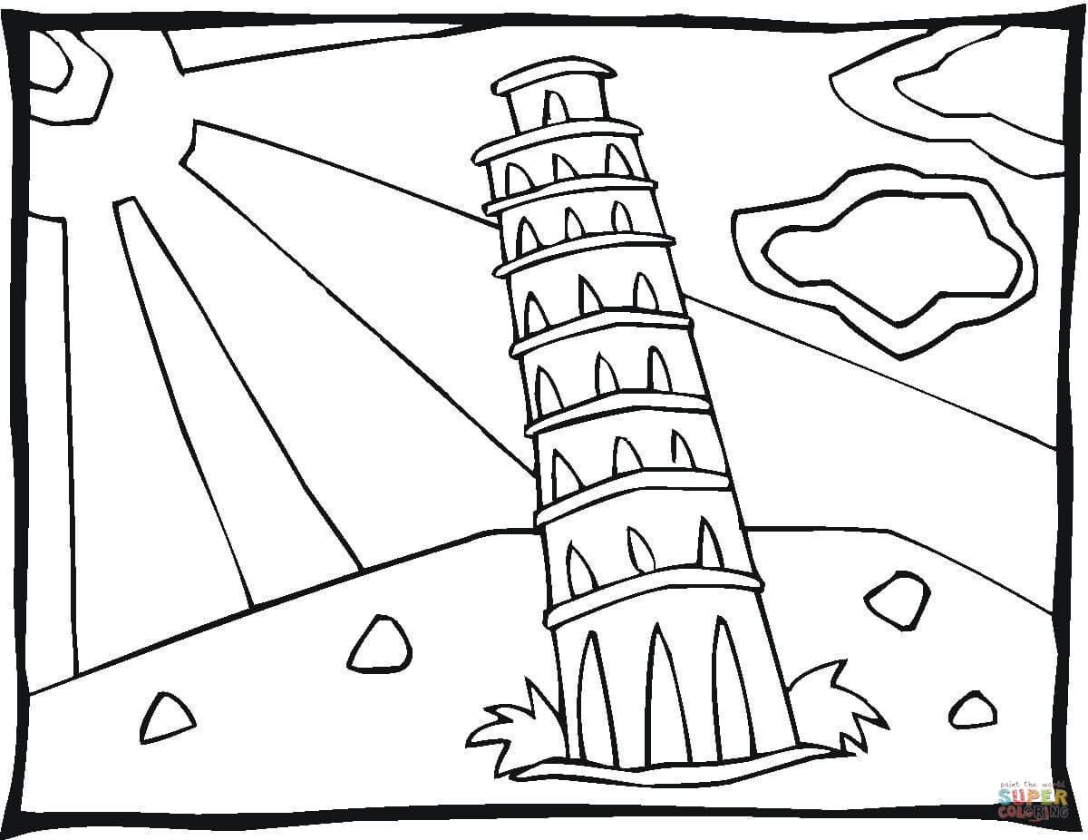 1200x926 Tower In Pisa Coloring Page Free Printable Coloring Pages