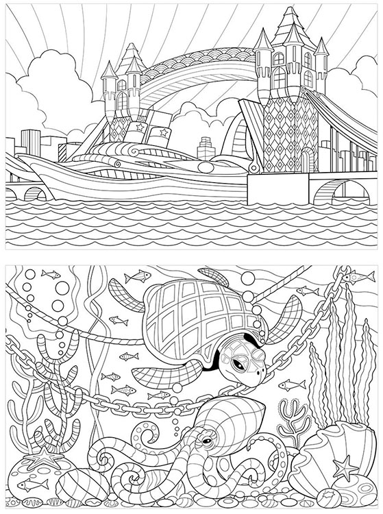 559x750 Undersea Scene And Tower Bridge For Adult Colouring In Book