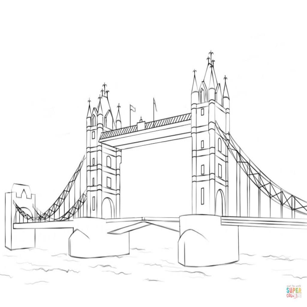 1024x1024 Dibujo De Tower Bridge Para Colorear Dibujos Para Colorear