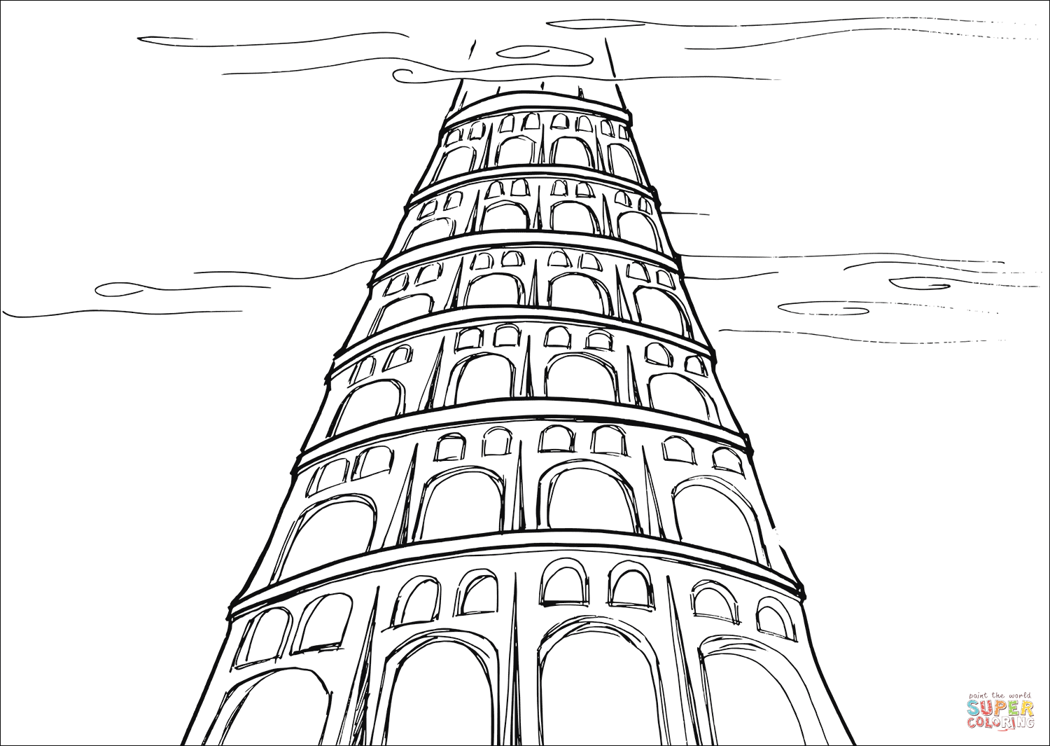 1500x1065 Tower That Reaches To The Heavens Coloring Page Free Printable