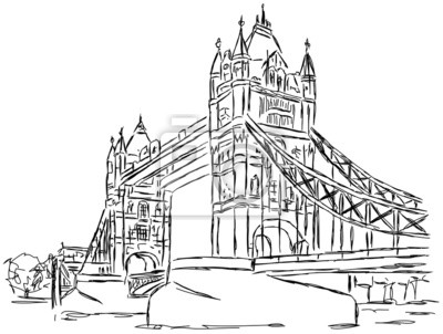 400x302 Fototapeta Tower Bridge London Zeichnung Handzeichnung Na Wymiar