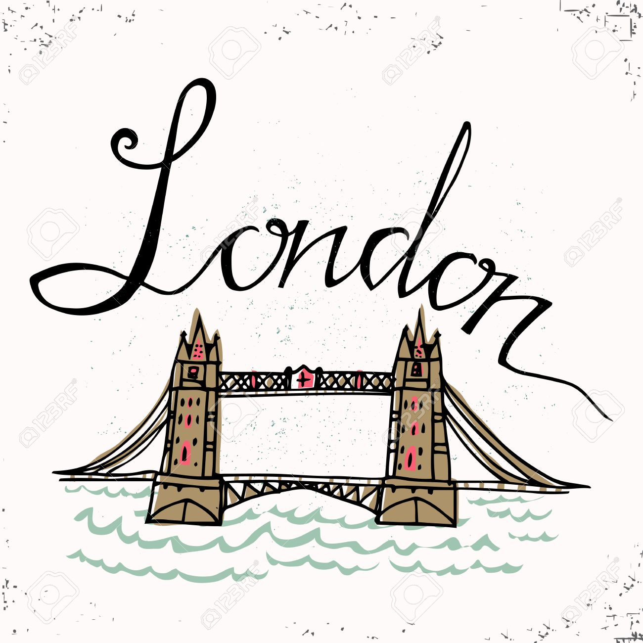 1300x1300 London Hand Lettering And Tower Bridge. Vector Illustration