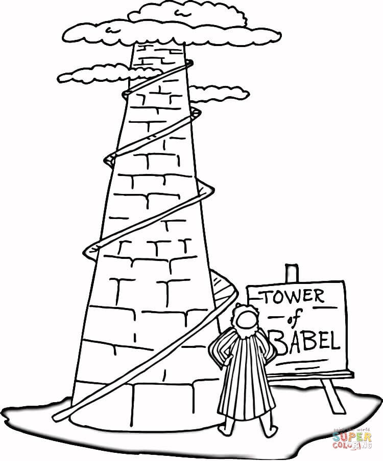 750x901 Perfect Tower Of Babel Coloring Page 18 About Remodel Kids