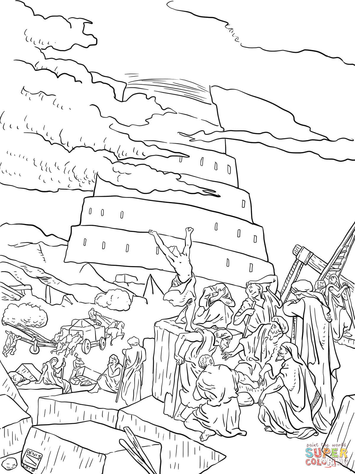 1200x1600 Tower Of Babel And The Confusion Of Tongues Coloring Page Free