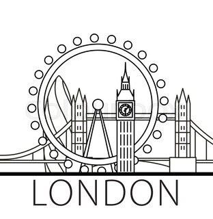 312x320 Travel Landmark Of Great Britain Flat Icon With The Tower Bridge