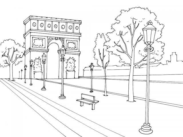640x480 Arco Del Triunfo Coloring Pages For Kids