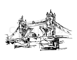 320x253 Cityscape Drawing Sketch Tower Bridge, London, England