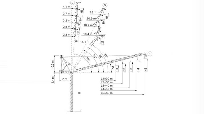 715x400 Luffing Jib Tower Crane Construction Crane Dahan