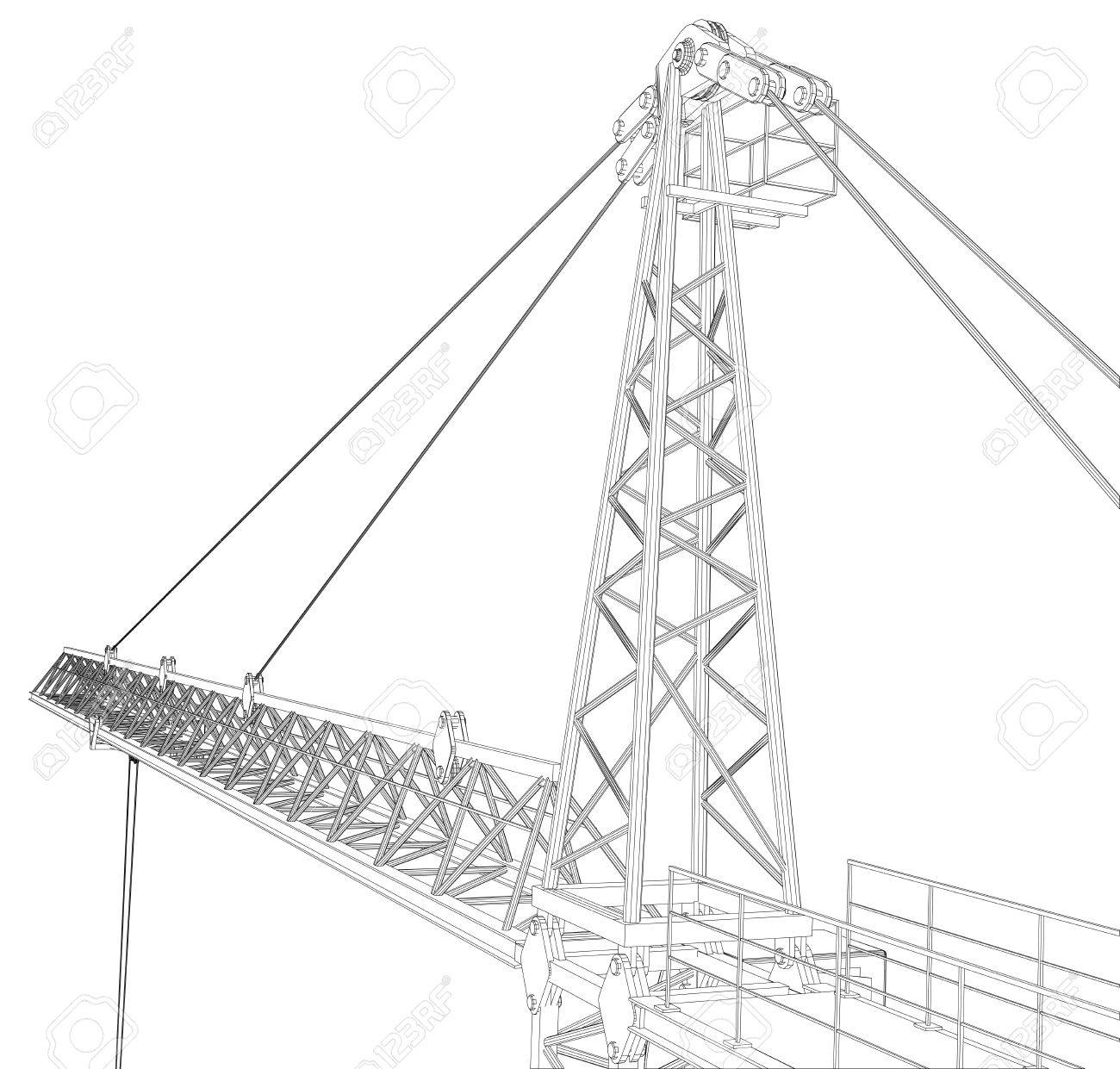 1300x1241 Tower Construction Crane. Detailed Vector Illustration Isolated