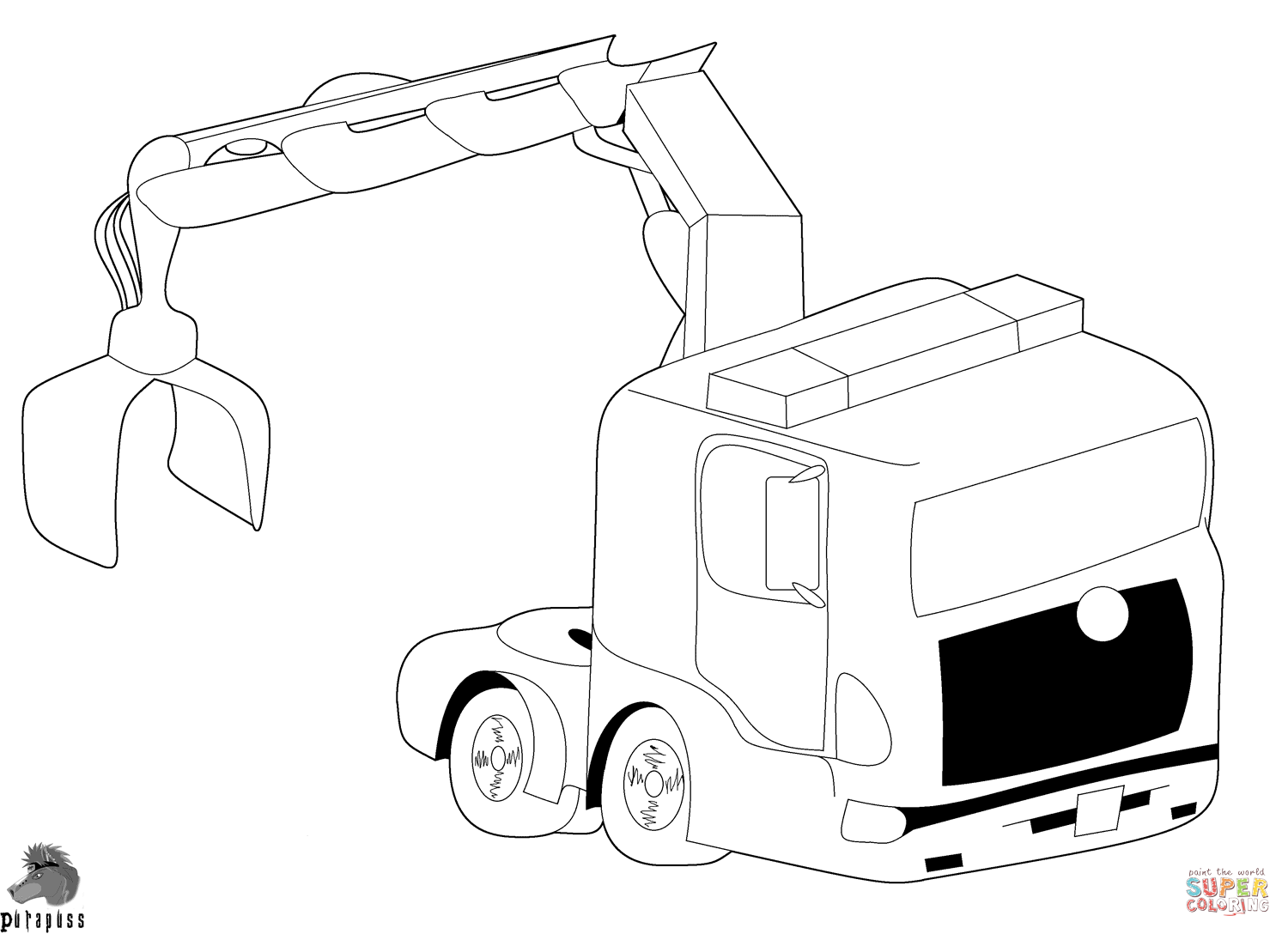 1500x1088 Truck With Crane Coloring Page Free Printable Coloring Pages
